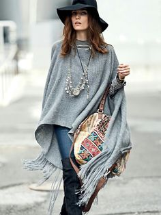 Poncho Grey Hat Banjara Embroidery Embellished Bag boho ethnic Tribal