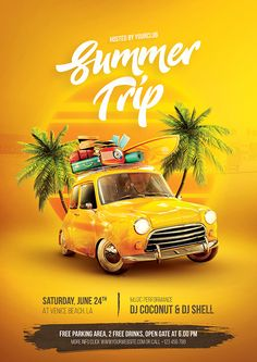 Buy Summer Trip Flyer by bornx on GraphicRiver. Summer Trip Flyer – A premium quality Photoshop flyer template perfect to promote your summer camp, summer party, or . Travel Brochure Design, Travel Design, Poster Design, Graphic Design Posters, Graphic Art, Creative Advertising, Advertising Design, Ads Creative, Banner Design
