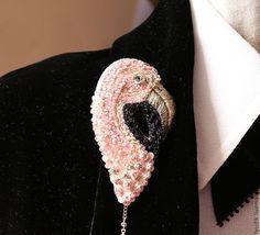 """Купить Брошь""""мистер фламинго)"""" - розовый, вышитые украшения, брошь ручной работы, Вышивка бисером"""
