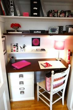 Office in bedroom closet.  See this so much, may have to do it!
