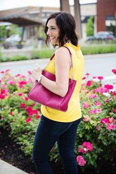 2 Ways to Wear a Yellow Top: dark denim, gold sandals, and a pop of pink! Gold Sandals, 2 Way, Yellow Top, Dark Denim, Color Trends, V Neck, Tote Bag, Pink, How To Wear