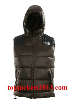 The North Face Outlet Mens Summit Series Hoodie Down Vest Coffee Black