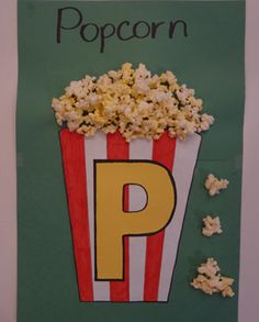 letter p pocorn craft. you may use real or fake popcorn pieces. for each correct /p/ production, give the child a piece to glue on . you may also allow the child to color in the container stripes
