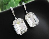Bridal Earrings - Rodium plated over Sterling Silver Ear hooks with Clear White Swarovski Crystal Rectangle drops