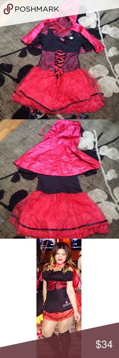 """Sexy Red Riding Hood Halloween Costume 4 piece costume including: dress, two leg garter bows, reversible hooded cape. Tights not included. So so cute. Worn only once to work last year. (I wore an apron so the red tutu part of the dress was covered a bit.) Size L 10-14. True to size. I also put another tutu underneath to fluff it up. I'm 5' 4"""". In excellent condition! Will be shipped and delivered within 3 days! Get it in time for your Halloween parties! Dresses"""