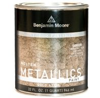 Get the effect of hammered metal. A rich, glossy paint for walls, furniture, accessories in gold, copper, bronze, charcoal, silver.  Interior/exterior.