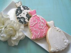 Bridal Shower Cookies....really like the idea of brush embroidery in dress cookies