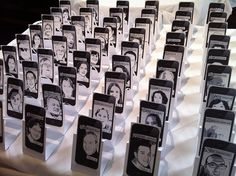 Comic-style iPhone-framed tablecards designed by Bride & Groom by Melaina, via Flickr