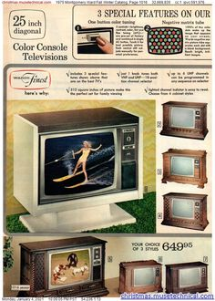 Vintage Tv Ads, Vintage Advertisements, Art Deco Kitchen, Advertising History, Vintage Television, Montgomery Ward, Christmas Catalogs, Old Ads, Classic Tv