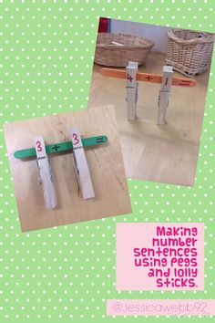 Making number sentences using pegs and lolly sticks. EYFS I would reposition + and = to allow for pegs to clip on with the answer. Maths Eyfs, Eyfs Activities, Classroom Activities, Numeracy, Classroom Ideas, Early Years Maths, Early Math, Math For Kids, Fun Math