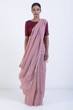 Pale Pink Handloom Woven Check Dhakai Khadi Cotton Saree