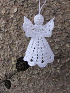 Gorgeous Christmas set of 6 crocheted ornaments. Handmade Christmas decorations with wedding .- christmas crocheted every gorgeous household ornaments - Her Crochet Christmas Angel Ornaments, Crochet Christmas Decorations, Christmas Crochet Patterns, Holiday Crochet, Crochet Snowflakes, Crochet Gifts, Christmas Crafts, Christmas Tree, Crochet Angel Pattern