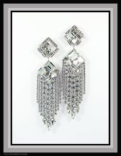 Deco-inspired shoulder duster waterfalls in all Swarovski Crystal - - by Bryan Greenwood of Crystal Countess / Jewellery by Greenwood Design