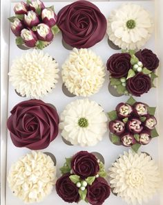 Here are 3 of my favorite cupcake recipes and how to garnish them; Personally, I prefer filled cupcakes … enjoy your cupcake girls! Cupcakes Flores, Frost Cupcakes, Floral Cupcakes, Buttercream Cupcakes, Wedding Cakes With Cupcakes, Cupcake Flower Bouquets, Bridal Shower Cupcakes, Decorated Cupcakes, Flower Cakes