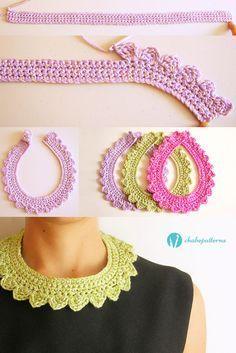 Crochet Collar Pattern, Col Crochet, Crochet Necklace Pattern, Crochet Lace Collar, Knitted Necklace, Crochet Bracelet, Crochet Shawl, Crochet Stitches, Crochet Earrings