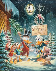 Carl Barks Christmas Composition [Story Code: CB Oil 16]  #CarlBarks #Disney