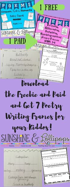 Poetry Lessons for Elementary kids: APRIL is POETRY MONTH so why not teach your students to write poetry easily with these FREE and PAID poetry writing frames and graphic organizers to ensure success.