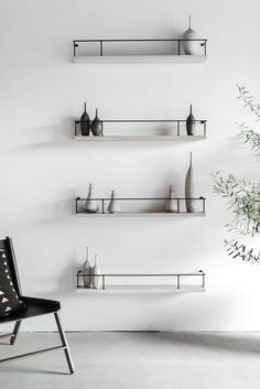 """36""""W + 6""""D + 5""""H INDUSTRIAL STEEL + OAK POLYFINISH //CUSTOMIZE THIS PIECE  These Floating Shelves areCustom Made in Los Angeles. The oak is planed,cut to size, and pre drilled for a steel mounting bracket.The metal iscut, welded, and painted matte black. Care + Maintenance Handmade Home Furniture, House Furniture, Metal Furniture, Industrial Furniture, Handmade Home Decor, Ceramic Furniture, Furniture Design, Shelf Furniture, Floating Shelves Bathroom"""