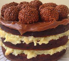 naked cake prestígio com brigadeiros - Pesquisa Google