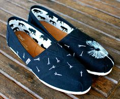 Custom Hand Painted TOMS -- White Dandelion on Black Canvas Classic TOMS Shoes -- Customizable and Super Cute!