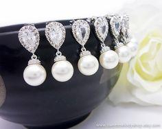 10 OFF SET of 5 Pearl Drop Earrings Wedding by SweetMelodyShop, $134.10