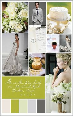 green and grey wedding theme