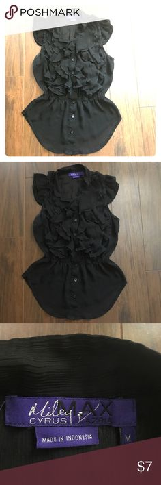 SEXY Miley Cyrus black ruffle blouse 😍 Ruffles flatter the chest making it look fuller very flattering top! Super cute! It is a juniors Medium so could fit an adult small Miley Cyrus & Max Azria Tops Blouses