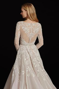 Hayley Paige HP6600 Long sleeve rococo bridal gown, beaded and embroidered bodice with illusion bateau neckline and V-neck front, full intricate back, tulle skirt with cathedral train.