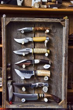 hammer-2-anvil: great way to display hand made knifes. Randall Made……