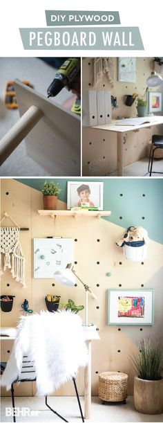 This DIY plywood pegboard wall is the perfect way to create a custom homework space in your home. Aniko, from Place of My Taste, combined the BEHR 2018 Color Trends shade Off The Grid with the BEHR 2018 Color of the Year, In The Moment, to create a modern geometric wall mural. Then she used door knobs from Liberty Hardware and wooden shelves to add storage to her kid's bedroom. Click here to learn more.