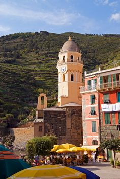 The clock tower of Vernazza in the Liguria region of Italy