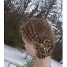 """Two Dutch lace braids into a braided bun with a flexi clip! www.lillarose.biz/Todogoodthings - SUPER talented teen braider - LOVE this sweet girl and the beautiful styles she creates."