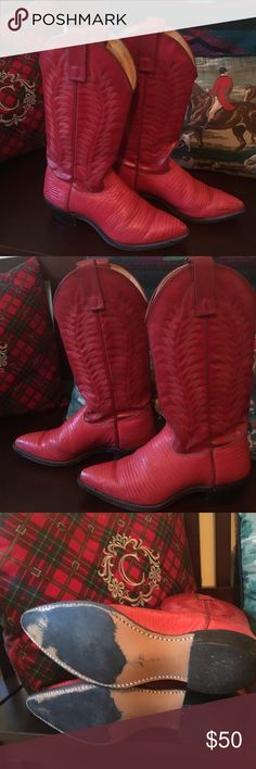 Red cowboy boots Sz 5M Very cool red cowboy boots in great condition Size 5 M made in the USA 🇺🇸 brand is Texas. I have oiled and condition the leather and the are clean and supple and ready to rock👍❤️ Texas Shoes Heeled Boots