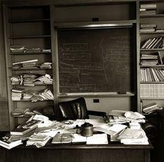 Albert Einstein's office - just as the Nobel Prize-winning physicist left it - taken mere hours after Einstein died, Princeton, New Jersey, April 1955.