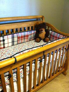Oak crib with Pottery Barn Madras crib set