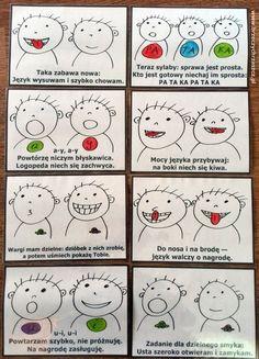 Ruchy naprzemienne – karty do diagnozy i terapii | Brzeczychrzaszcz — blog logopedyczny Sensory Integration, Preschool Worksheets, Kids Education, Diy For Kids, Activities For Kids, Hand Lettering, Playing Cards, Games, Reading