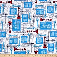 Kanvas Under Construction Blue Print White from @fabricdotcom  Designed by Greta Lynn for Kanvas in association with Benartex this cotton print is perfect for apparel, quilting and home decor accents. Colors include white, navy, ruby, red, light red, shades of blue and light grey.