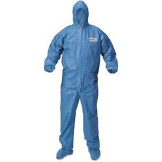 KleenGuard A60 Blood and Chemical Splash Protection Coveralls, X-Large, Blue, 24 Per Carton, Size: XL