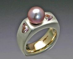 gold ring with Spice Pearl and Pink Spinel