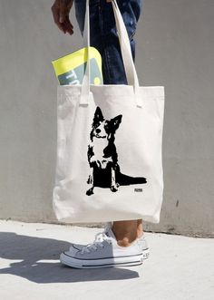 Border Collie Dog Tote Bag, Border Collie Gifts, Veterinarian Gift, Dog Sitter Gift, Personalised Tote Bag, Custom Reusable Shopping Bag by MONOFACESoADULT on Etsy