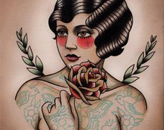 Nurse Flapper Traditional Tattoo Flash by ParlorTattooPrints