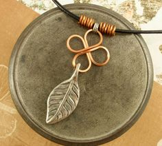 Leather, Copper and a Leaf Necklace. $30.00, via Etsy.