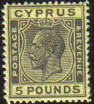 Cyprus Stamps SG 117a 1928 £5 King George V (black on yellow) - MINT FAKE. One of our most popular items.