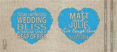Blue Heart - Rustic Wedding - Custom Stubby Holder