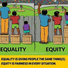 IISC has long believed that this image, illustrating the difference between equality and equity, is worth a thousand words. As a gift to the world of equity practitioners, IISC engaged artist Angus… Social Change, Social Work, Dankest Memes, Funny Memes, Hilarious, Gender Equity, Social Issues, Social Status, In Kindergarten