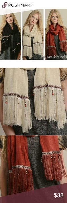 """Boho Tassel & Bead Scarf Boho Tassel & Bead Scarf Available in Rust Black  Ivory 100% Acrylic Dimensions 63""""x 27"""" See Detailed Size. These are NWOT Retail items! Bohemian Festival Coachella  All Sales are Final Per Poshmark. Please Read Description and Ask any and all Questions Prior to Purchase. Color may slightly vary due to different monitor settings.All transactions are photographed & video taped prior to shipment.Thank you!! Accessories Scarves & Wraps"""