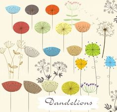 CLIP ART - Dandelions - for commercial and personal use