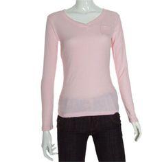 Allegra K Ladies Pink V Neck One Pocket Front Shirt Pullover Top XS Allegra K. $10.08