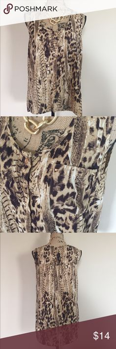 """🐾 Animal print high low tank 🐾 Brown and tan animal print tank from Edge. Brushed fold button front, high low hem, gold stud accents on front pocket. Size L. EUC. Front length measures 24"""", back length 29"""" Macy's Tops Blouses"""