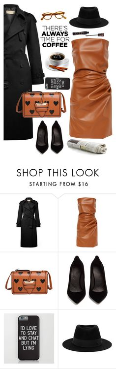 """""""I'd love to stay and chat"""" by ms-wednesday-addams ❤ liked on Polyvore featuring Burberry, Maison Margiela, Maison Michel and Forever 21"""